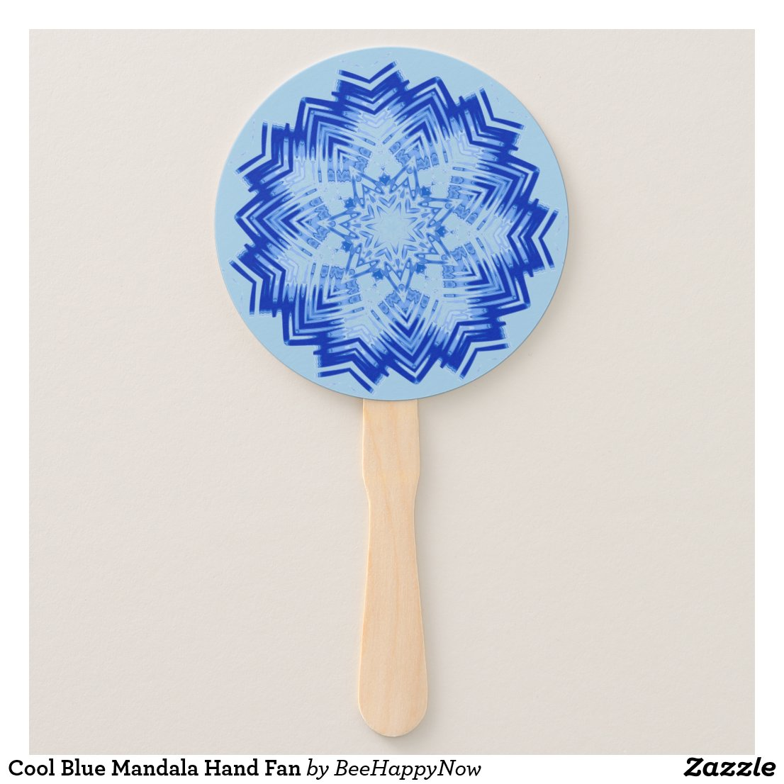 Cool Blue Mandala Hand Fan