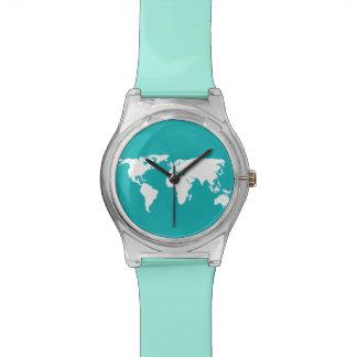 cool blue map wrist watch