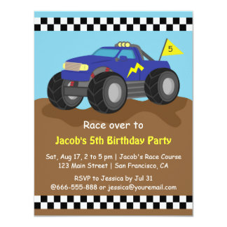 Cool Blue Monster Truck Birthday Party 4.25x5.5 Paper Invitation Card