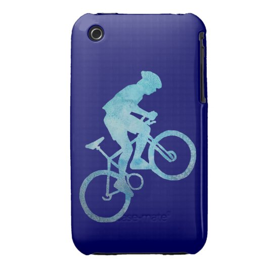 Cool Blue Mountain Biker iPhone 3 Cover