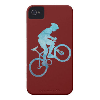 Cool Blue Mountain Biker iPhone 4 Cover