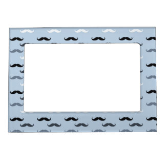 Cool Blue Mustaches Picture Frame Magnet