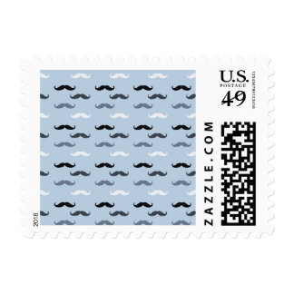 Cool Blue Mustaches Postage Stamp