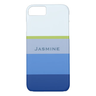 Cool blue nautical stripes  personalize name iPhone 8/7 case