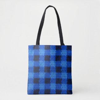 Cool Blue Navy Gingham Plaid Pattern Crochet Tote Bag