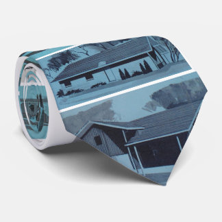 Cool Blue Novelty Retro Modern Houses Neck Tie