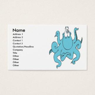 cool blue octopus cartoon character business card