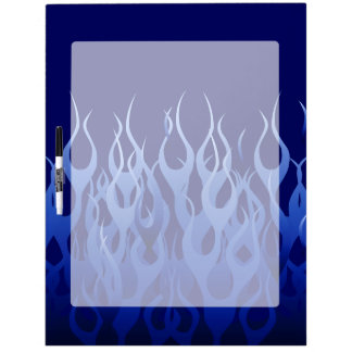 Cool Blue on Blue Racing Flames Dry-Erase Board