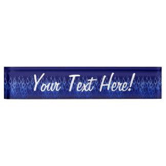 Cool Blue on Blue Racing Flames Name Plate