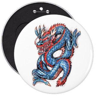 Cool Blue Oriental Dragon Tattoo Pinback Button