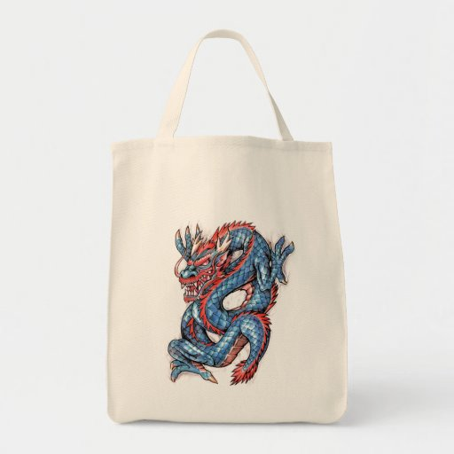 Cool Blue Oriental Dragon Tattoo Tote Bags