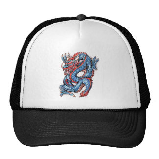 Cool Blue Oriental Dragon Tattoo Trucker Hat