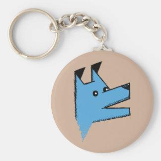 Cool Blue Origami Dog Basic Round Button Keychain