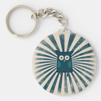 Cool Blue Owl Basic Round Button Keychain