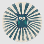 Cool Blue Owl Round Stickers