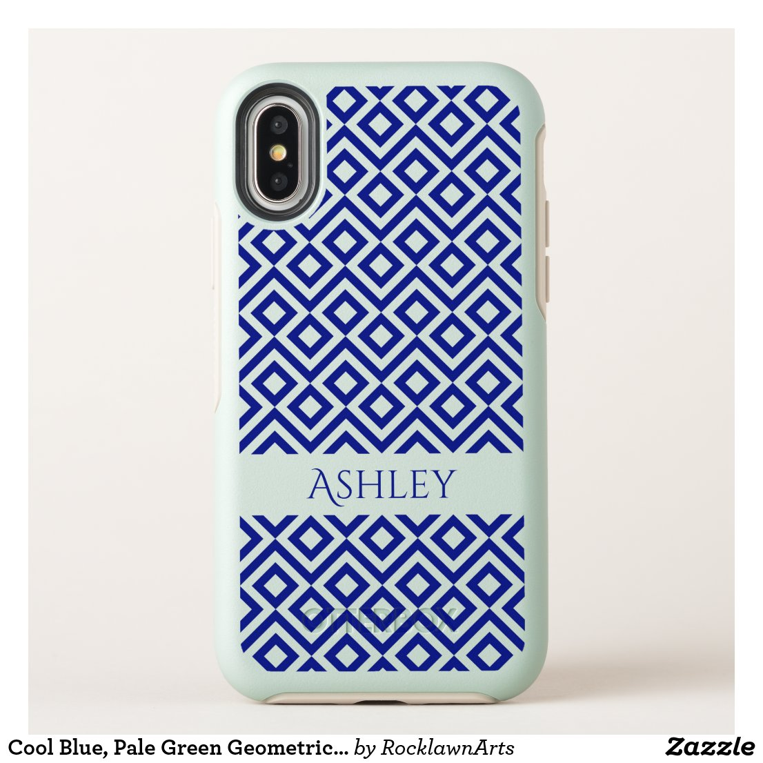 Cool Blue, Pale Green Geometric Meander, Your Name OtterBox Symmetry iPhone X Case
