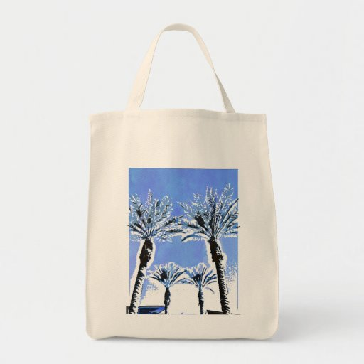 Cool Blue Palm Trees Paradise Beach Theme Decor Grocery Tote Bag