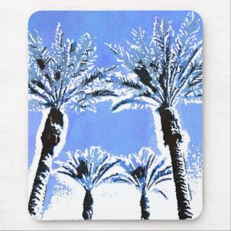 Cool Blue Palm Trees Paradise Beach Theme Decor Mousepads