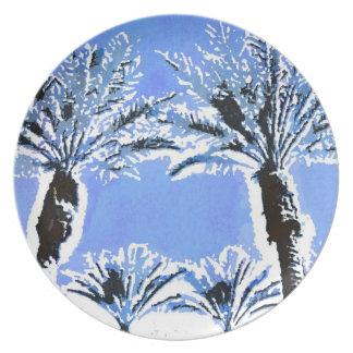 Cool Blue Palm Trees Paradise Beach Theme Decor Plates