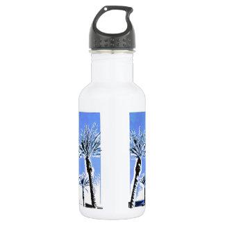 Cool Blue Palm Trees Paradise Beach Theme Decor Water Bottle