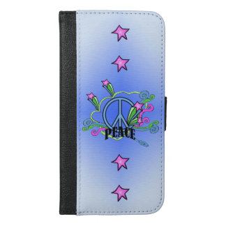 Cool Blue Peace sign Colorful Swirls Pink Stars iPhone 6/6s Plus Wallet Case