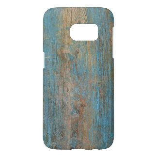 Cool Blue Peeling Paint Rustic Wood Texture Samsung Galaxy S7 Case