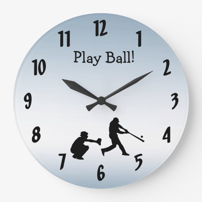 Cool Blue Play Ball Baseball Sports Clock