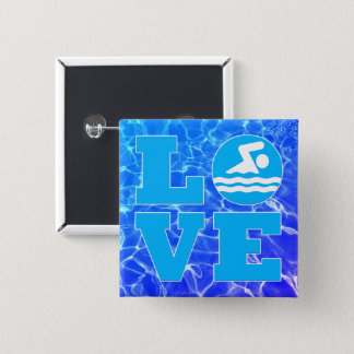 Cool Blue Pool Water Swim LOVE Coach or Instructor Button