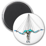 Cool Blue Puppet on Strings Comic Character 2 Inch Round Magnet