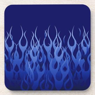 Cool Blue Racing Flames Beverage Coaster