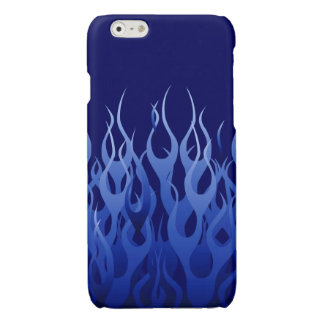 Cool Blue Racing Flames Glossy iPhone 6 Case