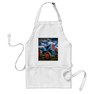Cool Blue Red Antique Tractor Gifts for Farmers Adult Apron
