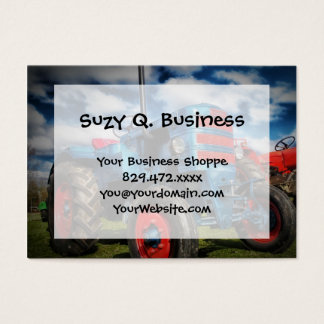 Cool Blue Red Antique Tractor Gifts for Farmers Business Card