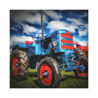 Cool Blue Red Antique Tractor Gifts for Farmers Canvas Print