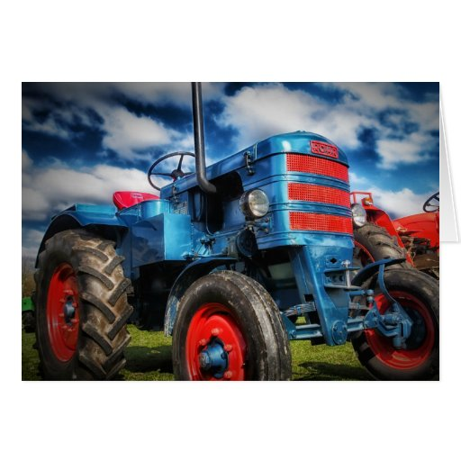 Cool Blue Red Antique Tractor Gifts for Farmers Greeting Card