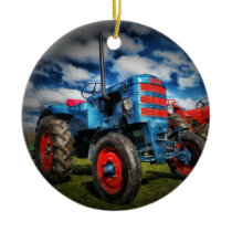 Cool Blue Red Antique Tractor Gifts for Farmers Ceramic Ornament