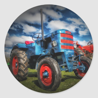Cool Blue Red Antique Tractor Gifts for Farmers Classic Round Sticker