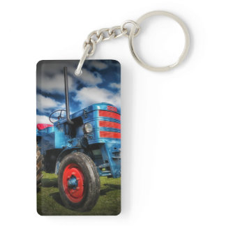 Cool Blue Red Antique Tractor Gifts for Farmers Keychain