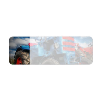 Cool Blue Red Antique Tractor Gifts for Farmers Label