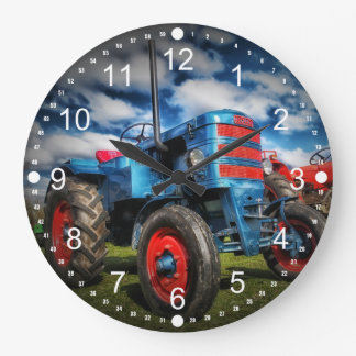 Cool Blue Red Antique Tractor Gifts for Farmers Large Clock