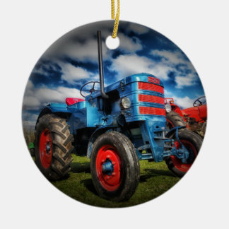Cool Blue Red Antique Tractor Gifts for Farmers Double-Sided Ceramic Round Christmas Ornament