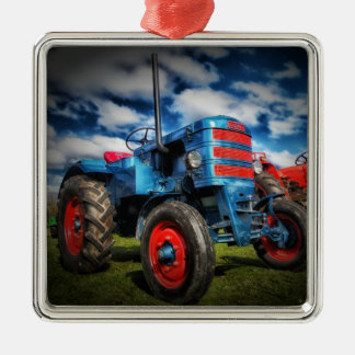 Cool Blue Red Antique Tractor Gifts for Farmers Square Metal Christmas Ornament
