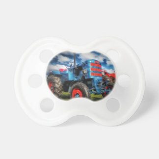 Cool Blue Red Antique Tractor Gifts for Farmers Baby Pacifier