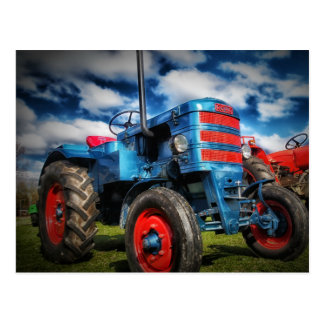 Cool Blue Red Antique Tractor Gifts for Farmers Postcard