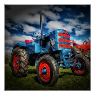 Cool Blue Red Antique Tractor Gifts for Farmers Poster