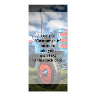 Cool Blue Red Antique Tractor Gifts for Farmers Personalized Rack Card