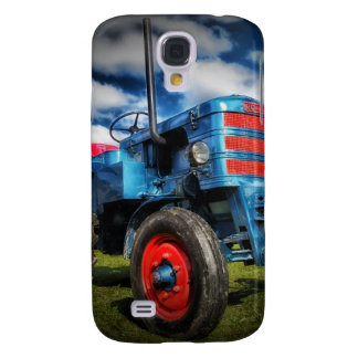 Cool Blue Red Antique Tractor Gifts for Farmers Samsung Galaxy S4 Cover