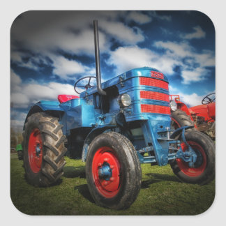 Cool Blue Red Antique Tractor Gifts for Farmers Square Sticker
