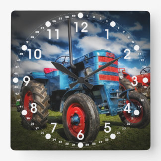 Cool Blue Red Antique Tractor Gifts for Farmers Square Wall Clock