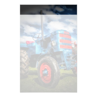 Cool Blue Red Antique Tractor Gifts for Farmers Stationery